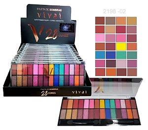 Paleta de Sombras 28 Cores Vivai 2198 - 02 - Box com 12 Unidades