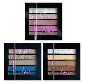 Paleta de Sombras 5 Cores Alta Pigmentação City Girl CG115 - Kit com 24 Unidades
