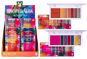 Paleta de Sombras Tropicalia Hot e Color PLayboy PB5009 - Kit com 16 Unidades