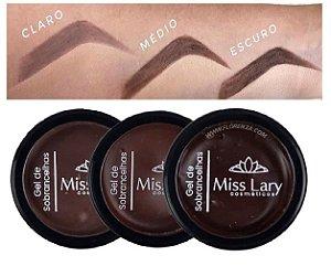 Gel para Sobrancelhas Vegano Miss Lary ML905 - Kit com 3 Unid ( Cor Claro, Medio, Escuro )