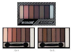 Paleta de Sombras Matte 7 Cores, Espelho e Pincel SP Color SP010 ( 2 Unidades )