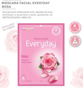Máscara Facial Koreana SP Color Rosa Restaura e Ilumina EV001 - Kit com 10 Unidades