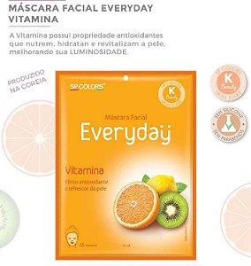 Máscara Facial Koreana SP Color Vitamina Antioxidante e Frescor EV004 - Kit com 10 Unidades