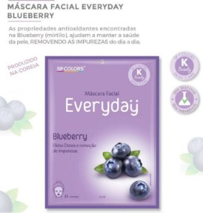 Máscara Facial Koreana SP Color Blueberry ( Mirtilo ) Purificante EV005 - Kit com 10 Unidades