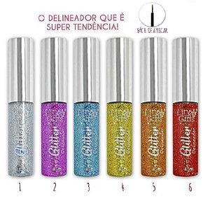 City Girls - Delineador Glitter CG188 - Kit com 6 unidades