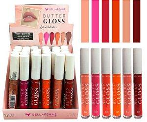 Lip Gloss Bella Femme BF10079 - Kit com 24 unidades em Cores Sortidas