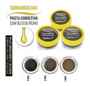 Pasta corretiva para Sobrancelhas com Óleo de Ricino Mahav  PC CS-MH - Kit com 3 Unid ( 1 de cada cor )