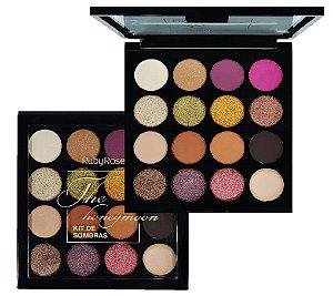Paleta de Sombras 15 Cores The Honeymoon Ruby Rose HB1022 - Display com 12 Unidades