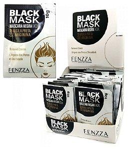 Máscara Facial Preta Removedora de Cravos Black Mask Sachê 10g Fenzza FZ38003 - Display com 50 unidades