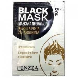 Máscara Facial Preta Removedora de Cravos Black Mask Sachê 10g Fenzza FZ38003