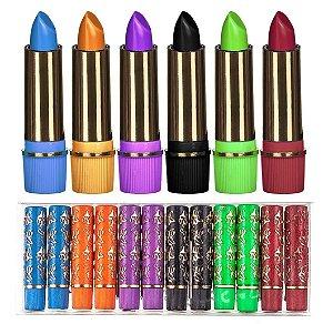 Batom 24 Horas Colorido Tons Rosados Bella Femme BF10016 ( 144 Unidades - Coloridos )