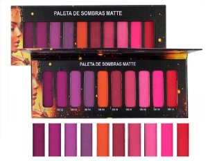 Paleta de Sombras Matte 10 Cores Ludurana 7792 - Kit com 12 Unid