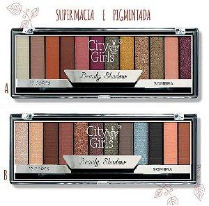 Paleta de Sombras com 12 cores Foscas e Cintilantes Shadow City Girl CG160