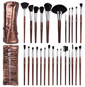 Kit com 26 Pincéis de Maquiagem Brown Dapop HB96696 - Conjunto com 4 Kits