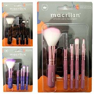 Kit de Pincéis para Maquiagem Macrilan com 5 Pincéis KP5-18