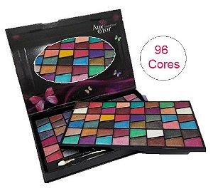 Kit Paleta de Sombras 96 Cores com Espelho 24 x 17 cm ( Grande ) Any Color 1219 - KIt com 4 Unidades