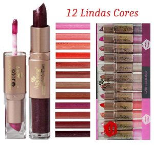 Batom e Gloss Mais Volume Any Color 1808 - Kit com 12 Unidades