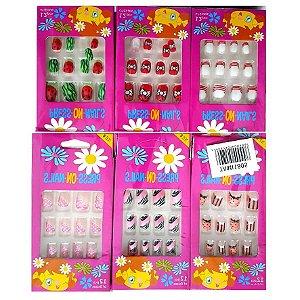 12 Unhas Autocolantes Infantis TAM1805  ( Pacote C/12 Caixas )