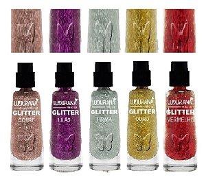 Sombra Glitter Solto em Pó Ludurana - Kit com 5 Unidade ( 1 de cada cor )