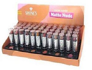 Batom Matte Cores Nudes Shines - Display com 48 Unidades e Provadores