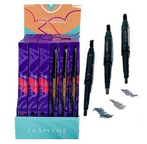 Lápis duo para Sobrancelhas Chanfrado e Escova Jasmyne JS06057 - Display com 24 Unidades