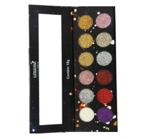 Paleta de Sombras Glitter 12 Cores Ludurana M00075- Kit com 12 Unidades