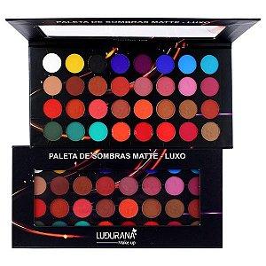 Paleta de Sombras Matet Luxo 32 Cores Ludurana M00040 - Kit com 4 Unidades