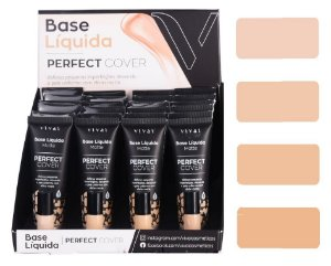 Base Líquida Matte Perfect Cover Cores Claras Vivai 1091.4.1 - Display com 24 Unid e Prov