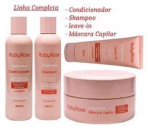 Kit Tratamento Capilar Argila Rosa Ruby Rose - Kit com Shampoo, Condicionador, Leave-In e Máscara Capilar