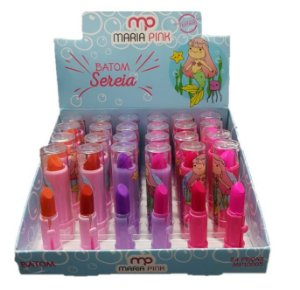 Batom Infantil Sereia Maria Pink MP10005 - DIsplay com 24 Unid e Prov