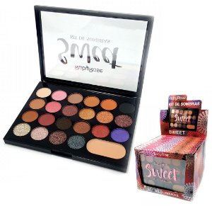 Paleta de Sombras + Primer Sweet Ruby Rose HB1010 - Display com 12 unidades
