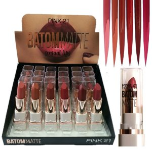 Batom Matte Pink 21 Sensual Lips 2419-B - Kit C/ 6 unid