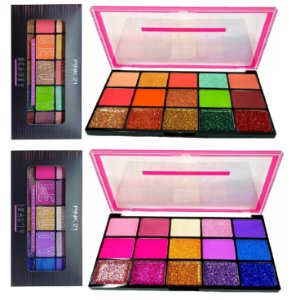 Paleta de Sombras e Glitter Beauty Pink 21 CS2309 - Display C/12 unid
