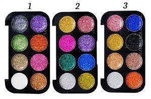Paleta de Sombras Glitter Metals Pink 21 CS2312 - Kit C/3 unid