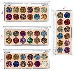 Paleta de Sombra Glitter 12 Cores Vivai 2172 - Display com 24 unidades