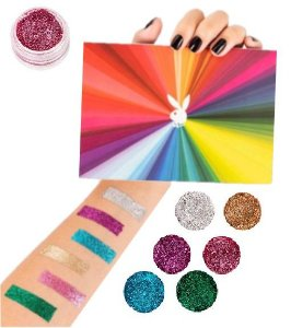 Kit de Sombras Glitter Make a Diference Playboy PB1071 - Kit C/ 12 Unidades