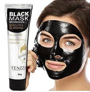 Máscara Facial Preta Removedora de Cravos Black Mask Fenzza FZ38020 - Display com 24 unid