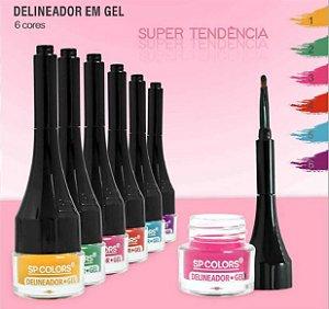 Delineador em Gel Colorido Alta Pigmentação com Aplicador SP Colors SP189 - Kit C/ 6 unid