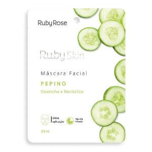 Máscara Facial de Tecido Pepino Desincha e Revitaliza Ruby Rose HB702 - Kit C/ 24 unid