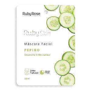 Máscara Facial de Tecido Pepino Desincha e Revitaliza Ruby Rose HB702