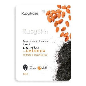 Máscara Facial Carvão e Amêndoa Hidrata e Desintoxica Ruby Rose HB706 - Kit C/ 24 unid