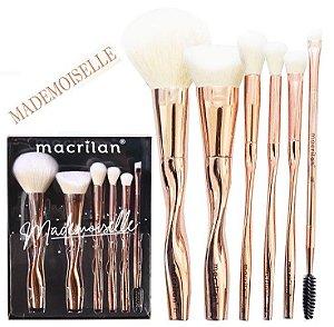 Kit com 6 pincéis para maquiagem Mademoiselle ED004