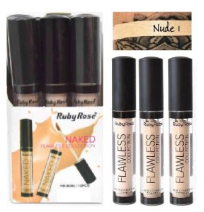 Corretivo Líquido Ruby Rose Flawless HB8080 Nude 1 - Kit com 12 Unidades