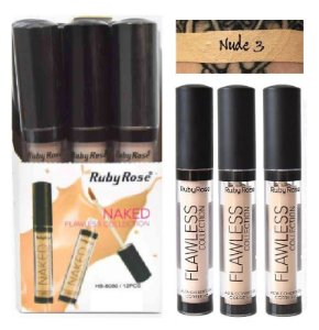 Corretivo Líquido Ruby Rose Flawless HB8080 Nude3 - Kit com 12 Unidades