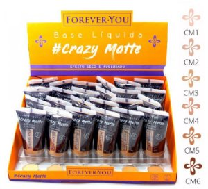Base Líquida Matte Crazy Forever You FY010 - Display com 24 unidades e Prov