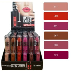 Batom Liquido Matte New Ruby Rose HB8213 ( Group 52 ) - Display C/48 Unid e Prov