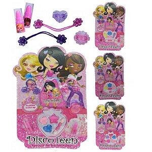 Kit de Maquiagem Infantil com Sombras, Batom, Anel e Elastico Discoteen HB86507 - Kit C/12 Unid