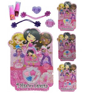 Discoteen - Kit de Maquiagem Infantil com Sombras, Batom, Anel e Elastico HB86507 - Kit C/4 Unid