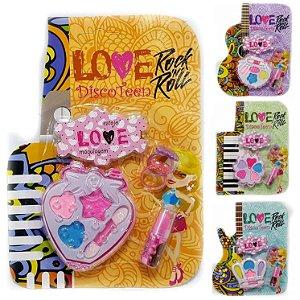 Kit de Maquiagem Infantil Discoteen Sombras, batom e Anel HB86508 - Kit C/ 04 Unid