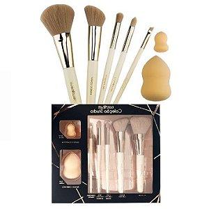Kit de Pincel Proffisional Studio Macrilan CS100 ( 5 Pincéis e 2 Esponjas ) - 03 Kits